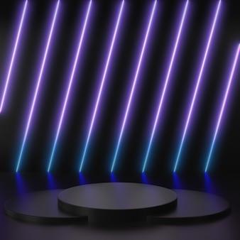 Renderowanie 3d świecące linie, tunel, neonowe fioletowe i niebieskie światła, rzeczywistość wirtualna, abstrakcyjne tło, kwadratowy portal z czarnymi scenami na podium na czarnym tle.