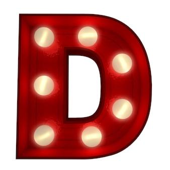 Renderowanie 3d świecącej litery d, idealne do wyświetlania znaków biznesowych