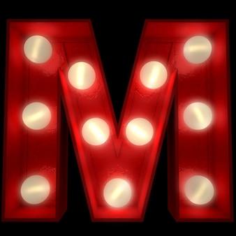 Renderowanie 3d świecącej litery m, idealne do wyświetlania znaków biznesowych
