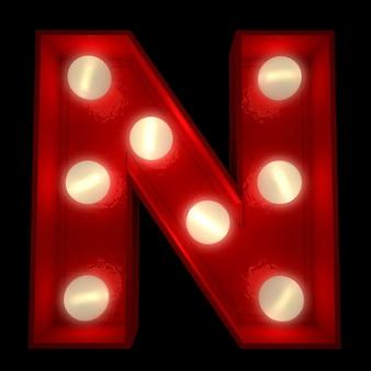 Renderowanie 3d świecącej litery n, idealne do wyświetlania znaków biznesowych
