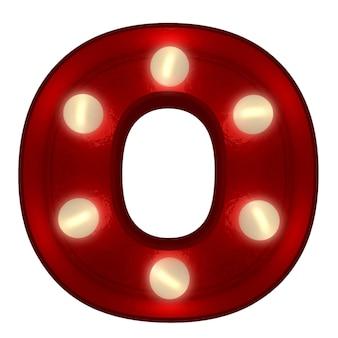 Renderowanie 3d świecącej litery o, idealne do wyświetlania znaków biznesowych