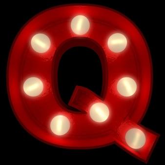 Renderowanie 3d świecącej litery q, idealne do wyświetlania znaków biznesowych