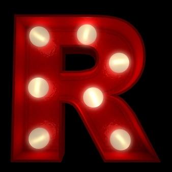 Renderowanie 3d świecącej litery r, idealne do wyświetlania znaków biznesowych