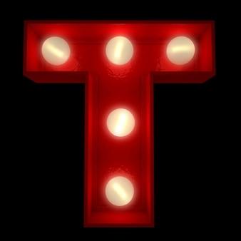 Renderowanie 3d świecącej litery t, idealne do wyświetlania znaków biznesowych