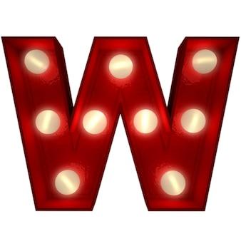 Renderowanie 3d świecącej litery w, idealne do wyświetlania znaków biznesowych