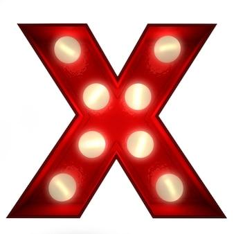 Renderowanie 3d świecącej litery x, idealne do wyświetlania znaków biznesowych