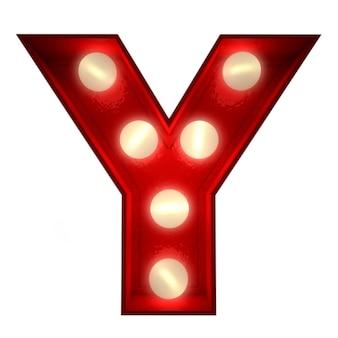 Renderowanie 3d świecącej litery y, idealne do wyświetlania znaków biznesowych