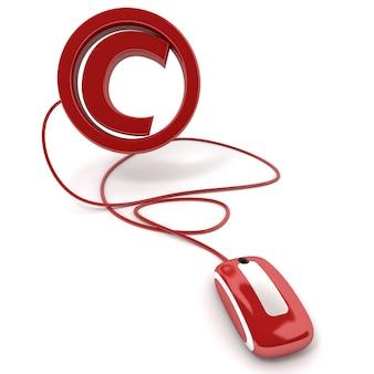 Renderowanie 3d symbolu praw autorskich podłączonego do myszy komputerowej