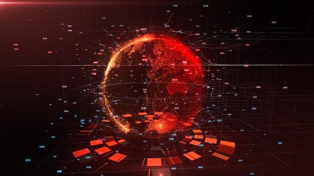 Renderowanie 3d szczegółowej wirtualnej planety ziemia