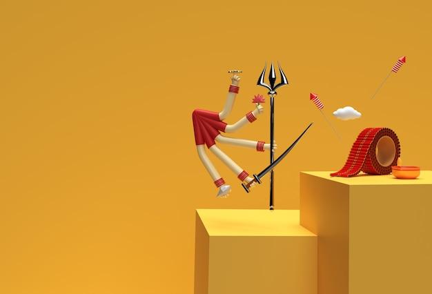 Renderowanie 3d szczęśliwa scena durga puja z minimalną sceną podium do projektowania reklam produktów wystawowych.