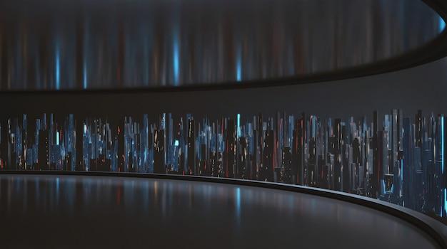 Renderowanie 3d szerokokątnego widoku abstrakcyjnego cyfrowego miasta z dużego pustego okna panelu pokoju.