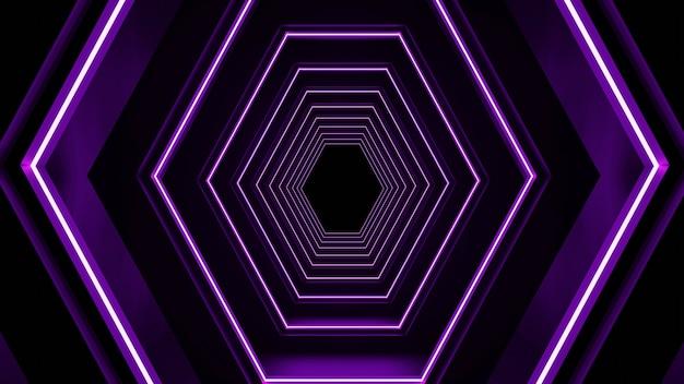 Renderowanie 3d sześciokątnego abstrakcyjnego tunelu neonowego