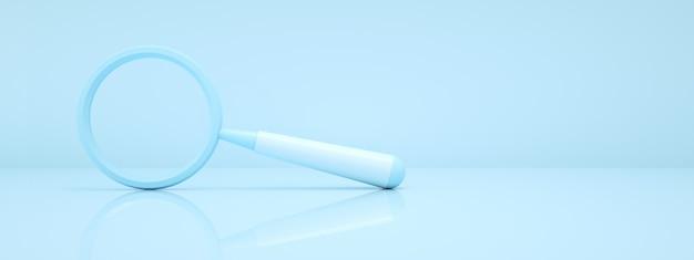 Renderowanie 3d szkła powiększającego na niebieskim tle, obraz panoramiczny