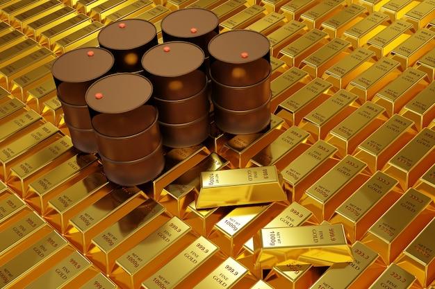 Renderowanie 3d sztabki złota i wiadra oleju