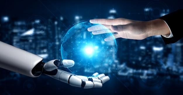 Renderowanie 3d sztuczna inteligencja badania nad rozwojem robotów i cyborgów dla przyszłości ludzi. projektowanie technologii cyfrowej eksploracji danych i uczenia maszynowego dla mózgu komputera.