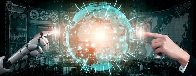 Renderowanie 3d sztuczna inteligencja badania nad rozwojem robotów i cyborgów