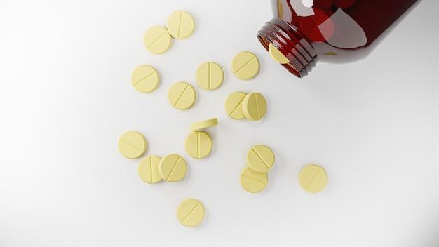 Renderowanie 3d. tabletki tabletki leku