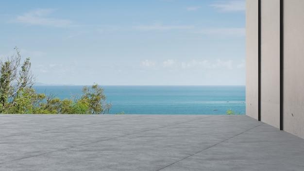 Renderowanie 3d tarasu z widokiem na morze