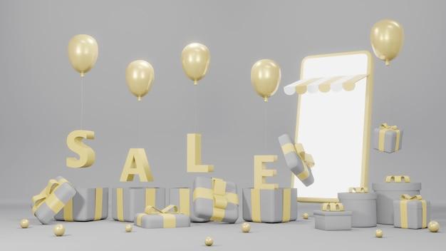 Renderowanie 3d tekstu wyprzedaż wylatującego z pudełek na prezenty balonem i telefonem w szarym i żółtym motywie