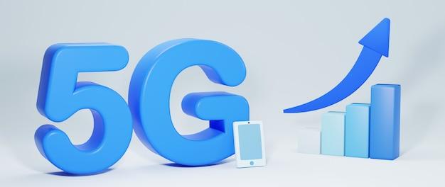 Renderowanie 3d telefonu komórkowego 5g i wykresów. koncepcja biznesowa online.