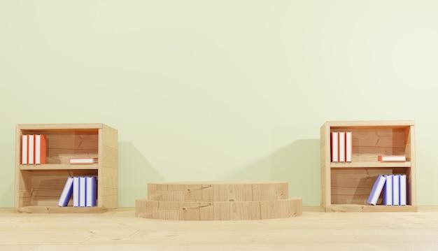 Renderowanie 3d tła 2 półki na książki zawierające książki na lekcje z drewnianym motywem szkolnym na podium