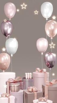 Renderowanie 3d tła luksusowych prezentów z balonowym światłem pierścieniowym i błyszczącymi gwiazdami pionową sceną