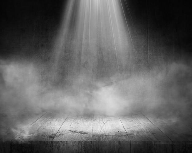 Renderowanie 3d tła wyświetlacza grunge z mglistą atmosferą