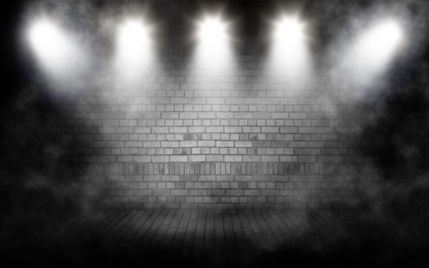 Renderowanie 3d tła wyświetlacza z grunge zadymionym wnętrzem pokoju z reflektorami