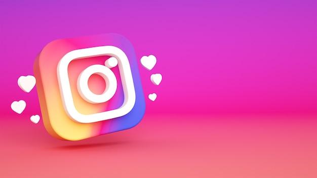 Renderowanie 3d tło logo instagram
