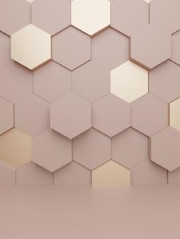 Renderowanie 3d tło wyświetlania luksusowych produktów dla produktów do pielęgnacji skóry lub produktów z miodem kosmetycznym