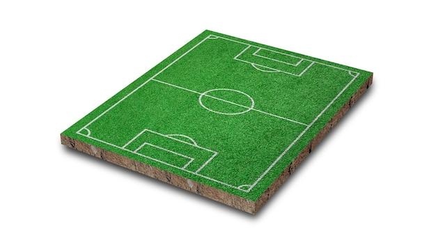 Renderowanie 3d. trawnik do piłki nożnej, boisko do piłki nożnej zielona trawa, na białym tle.