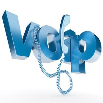 Renderowanie 3d unhooked słuchawkę telefoniczną ze słowem voip