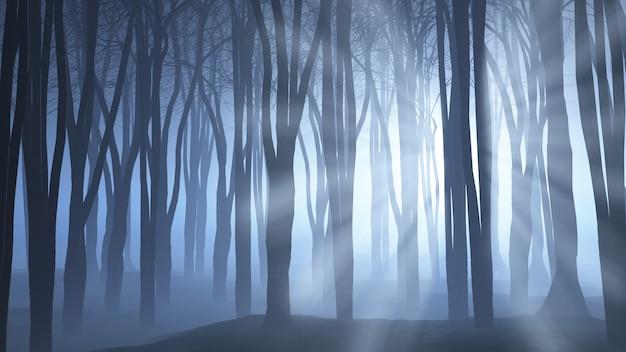 Renderowanie 3d upiornej sceny leśnej, przez którą przeświecają promienie