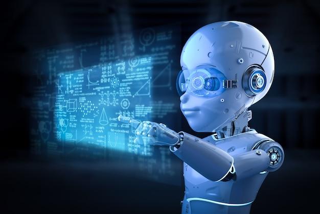 Renderowanie 3d uroczego robota lub robota ze sztuczną inteligencją z postacią z kreskówek z wyświetlaczem graficznym