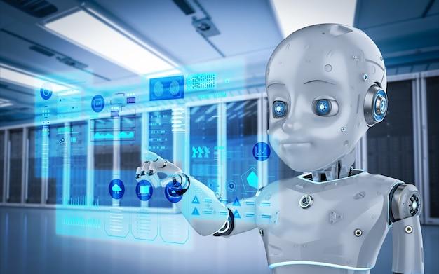 Renderowanie 3d uroczego robota lub robota ze sztuczną inteligencją z wyświetlaczem graficznym w serwerowni