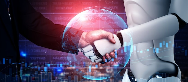 Renderowanie 3d uścisk dłoni humanoidalnego robota we współpracy z technologią przyszłości