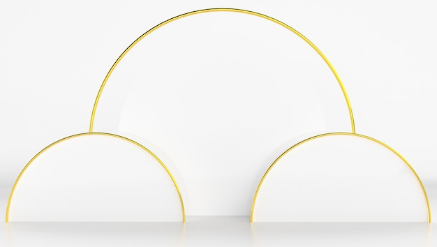 Renderowanie 3d w kolorze białym i złotym z minimalnym i abstrakcyjnym tle. scena z kształtem i geometrią.