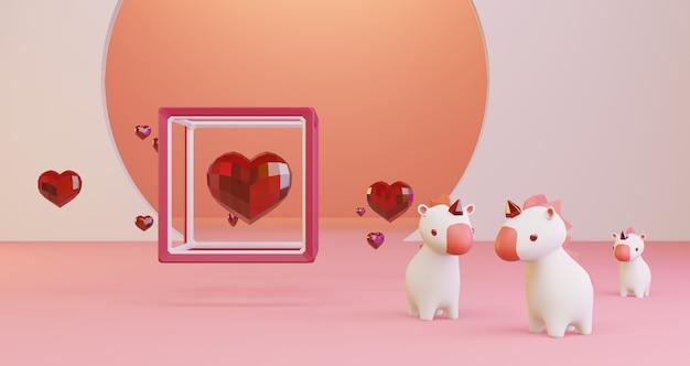 Renderowanie 3d walentynek. czerwone kryształowe serca w ramce sześcianu i słodkie jednorożce na różowym tle, minimalistyczne. symbol miłości. nowoczesne renderowanie 3d.