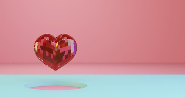 Renderowanie 3d walentynek. czerwone serce kryształowe unoszące się na niebieskim tle dziury koło, minimalistyczne. symbol miłości. nowoczesne renderowanie 3d.