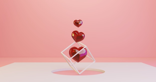 Renderowanie 3d walentynek. czerwoni cristal serca unosi się na białym okręgu dziury tle, minimalistyczny. symbol miłości. nowoczesne renderowanie 3d.