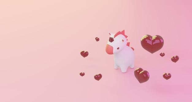 Renderowanie 3d walentynek. czerwoni serce i śliczny jednorożec na błękitnym tle, minimalistyczny. symbol miłości. nowoczesne renderowanie 3d.