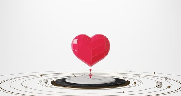 Renderowanie 3d walentynek. różowi cukierków serca unosi się na białego marmuru piedestale na białym tle
