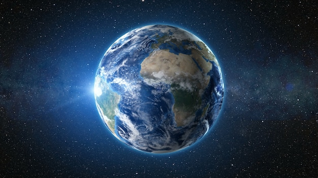 Renderowanie 3d: widok wschodu słońca z kosmosu na planecie ziemia