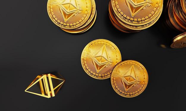 Renderowanie 3d widok z góry stosów monet ethereum handlujących cyfrową koncepcją monet cyfrowa kryptowaluta