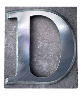 Renderowanie 3d wielkiej litery d metalicznym drukiem maszynowym