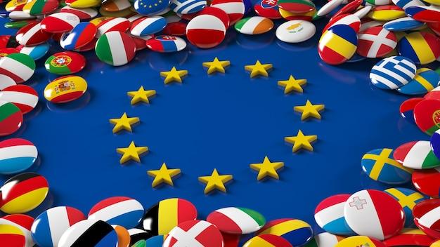 Renderowanie 3d wielu flag unii europejskiej błyszczące przyciski otaczające logo unii europejskiej