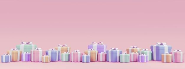 Renderowanie 3d wielu pudełek na prezenty w pastelowym motywie na urodzinowym tle świątecznym