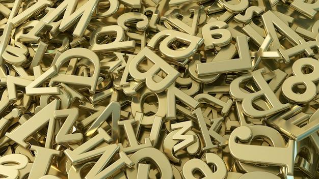 Renderowanie 3d wielu złotych liter alfabetu w widoku z bliska