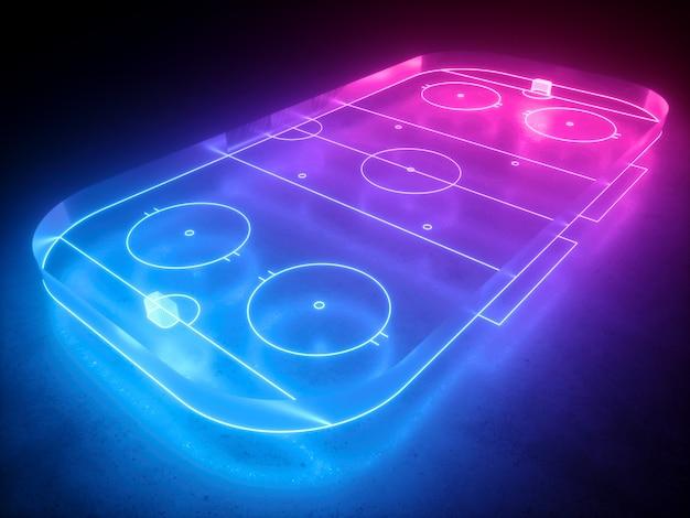 Renderowanie 3d, wirtualne neonowe lodowisko hokejowe, plac zabaw, wirtualne boisko sportowe.