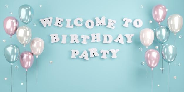 Renderowanie 3d witamy na przyjęciu urodzinowym tekst na ścianie z balonami i prezentami w niebieskim motywie